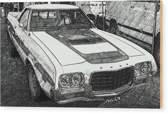 Classic Ford Sketch Wood Print
