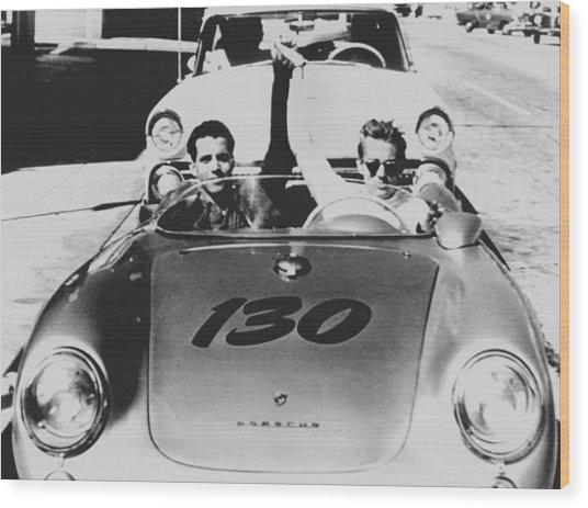 Classic James Dean Porsche Photo Wood Print