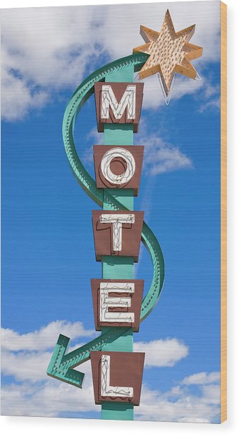 Classic Motel Sign Wood Print