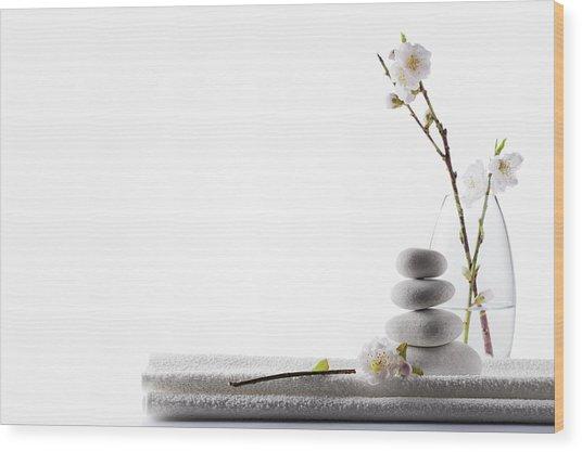 Clean White Spa Background Wood Print