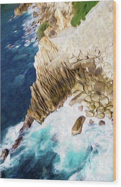 Cliffs In Acapulco Mexico Ill Wood Print