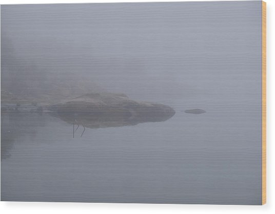 Cliffs In Fog Wood Print