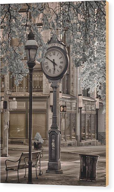 Clock On Street Wood Print