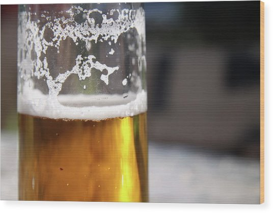 Close Up Of A Glass Of Lager Wood Print