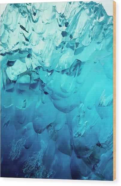 Close-up Of Blue Ice In An Iceberg Wood Print by Stuart Westmorland
