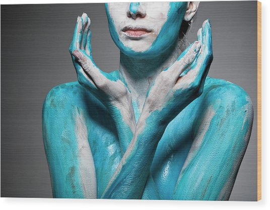 Close-up Of Body Painted Woman Wood Print by Tomfullum