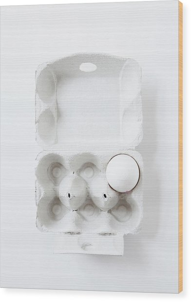 Close Up Of Egg In Carton Wood Print by Cultura Rm Exclusive/line Klein
