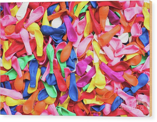 Close-up Of Many Colorful Children's Balloons, Background For Mo Wood Print