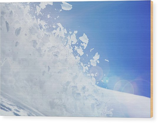 Close Up Of Snow Covered Hill With Wood Print by Moof