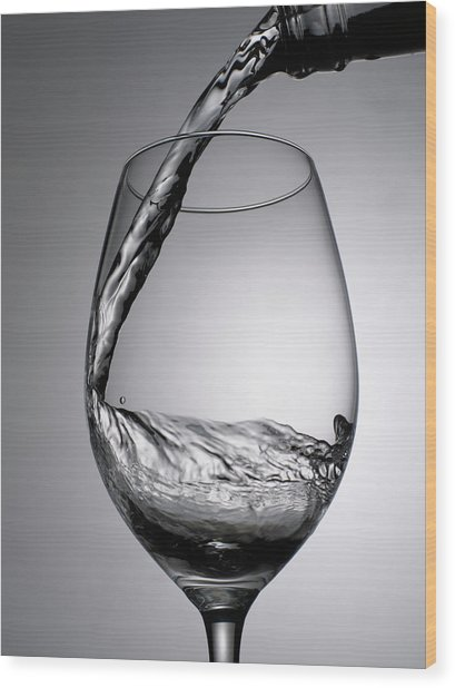 Close Up Of Wine Being Poured Into Wine Wood Print by Johner Images