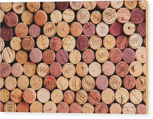 Closeup Of A Wall Of Used Wine Corks. A Wood Print