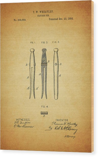 Clothespin Patent Wood Print