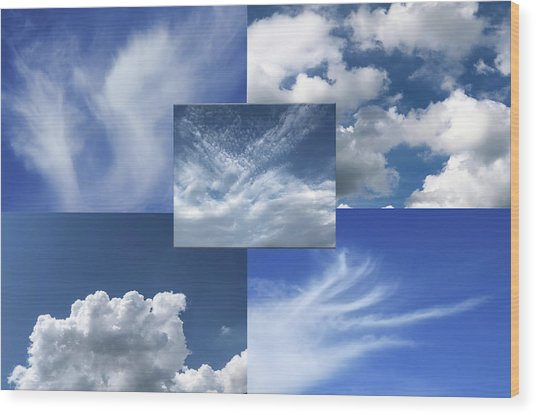 Cloud Collage Two Wood Print