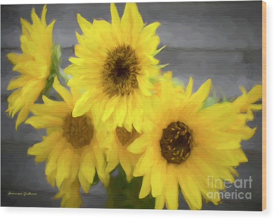 Cloud Of Sunflowers Wood Print