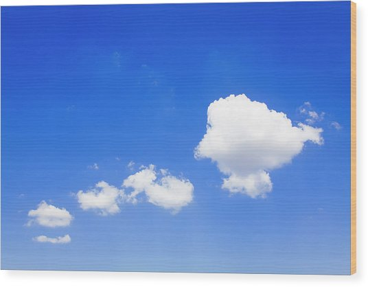 Clouds In A Blue Sky, Valensole Wood Print by F. Lukasseck