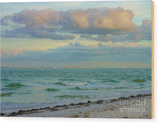 Clouds Over Sanibel Beach Wood Print