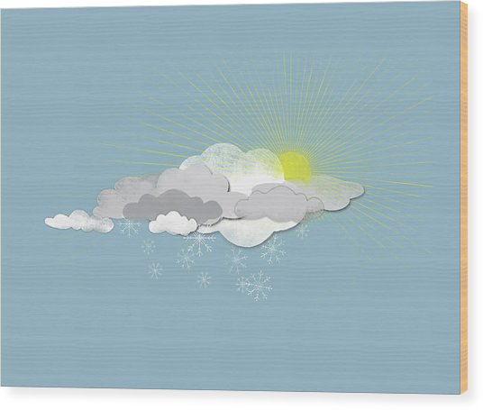 Clouds, Sun And Snowflakes Wood Print by Fstop Images - Jutta Kuss