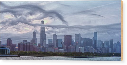 Clouds That Ate Chicago Wood Print by By Ken Ilio