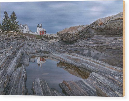 Cloudy Afternoon At Pemaquid Point Wood Print