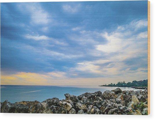 Cloudy City Coastline Wood Print