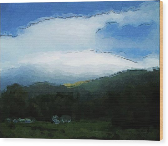 Cloudy View Painting Wood Print