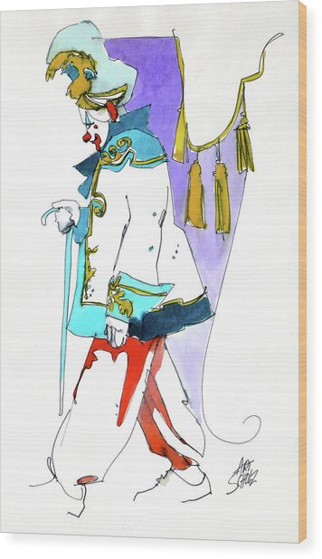 Clown Walk Wood Print by Art Scholz