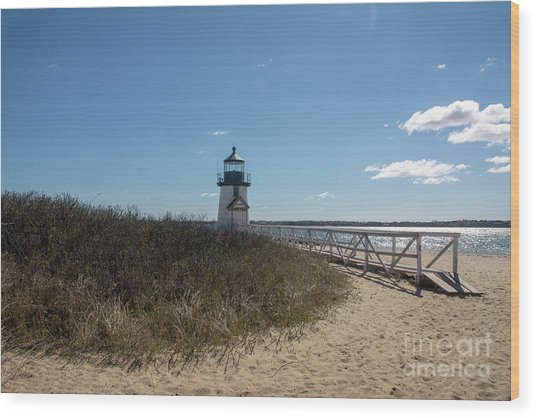 Coastal Brant Light House Wood Print