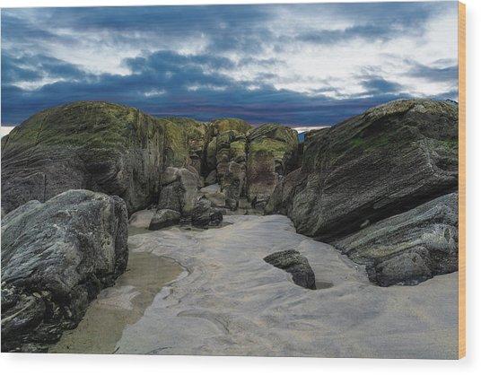 Coastline Castle Wood Print