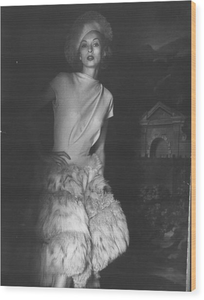 Cocktail Dress With Fur Skirt And Matchi Wood Print by Gordon Parks