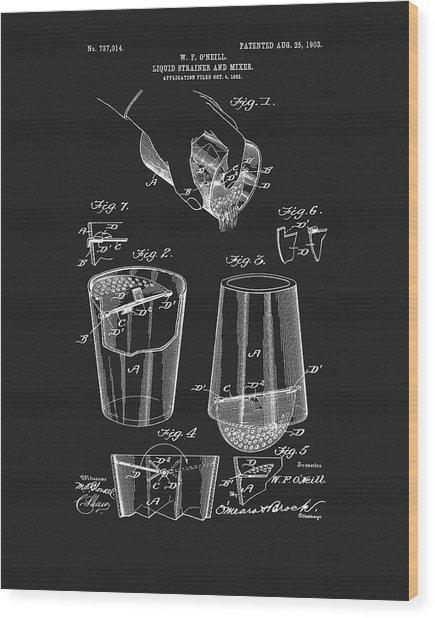 Cocktail Mixer Patent Wood Print