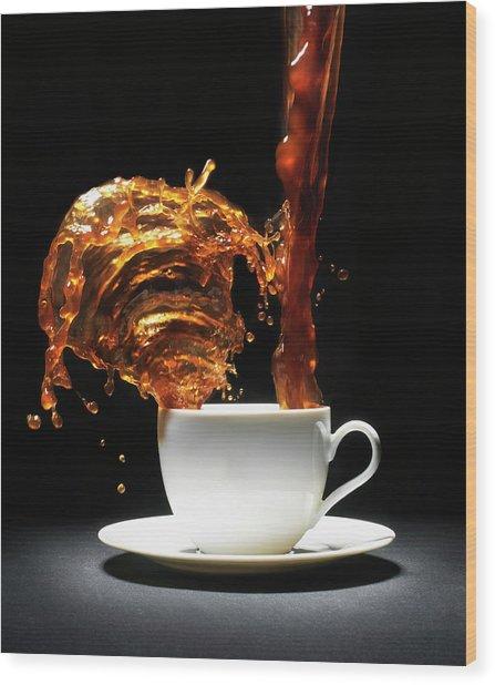 Coffee Being Poured Into Cup Splashing Wood Print by Henrik Sorensen