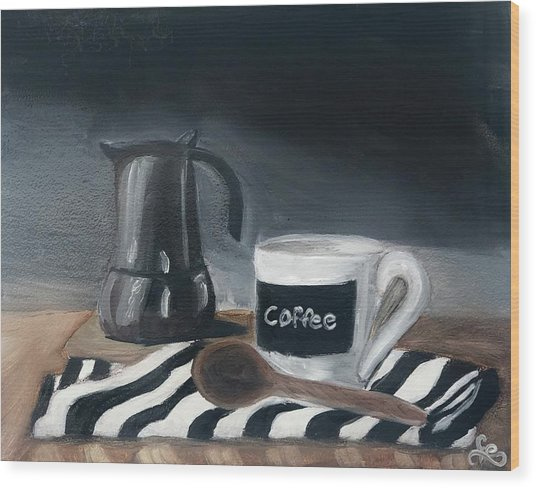 Wood Print featuring the painting Coffee Time by Fe Jones