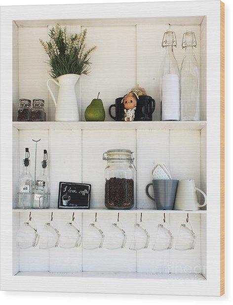 Coffee White Shelves On A White Wood Print