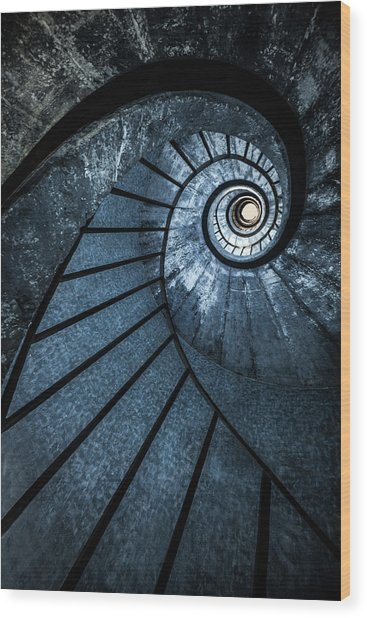 Cold Blue Staircase Wood Print