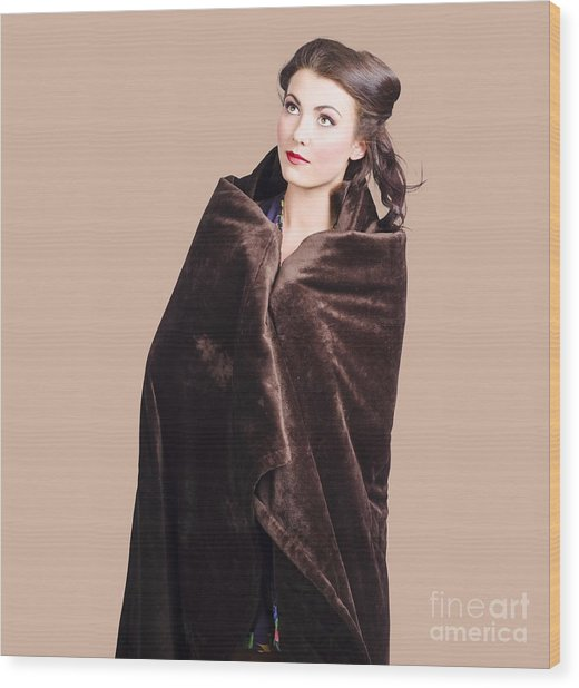 Cold Girl Feeling The Chill Of Winter In Blanket Wood Print