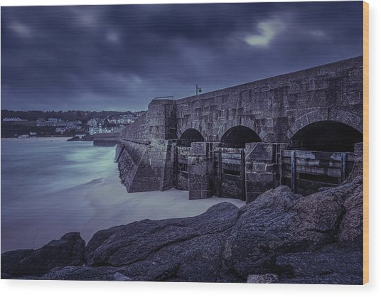 Cold Mood On The Pier Wood Print