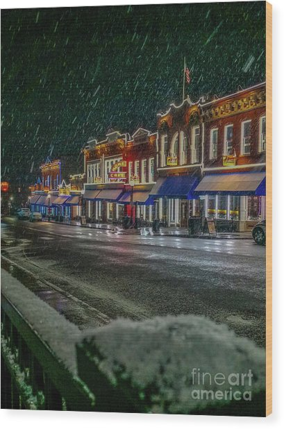 Cold Night In Cripple Creek Wood Print