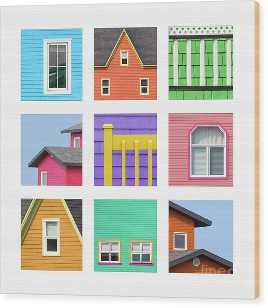 Collage Of Details Of The Colourful Houses Of The Magdalen Islan Wood Print