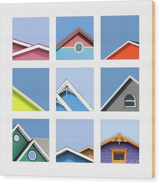 Collage Of The Rooftops Of The Magdalen Islands Wood Print