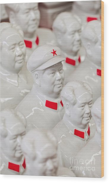 Collection White Mao Zedong Sculptures Wood Print