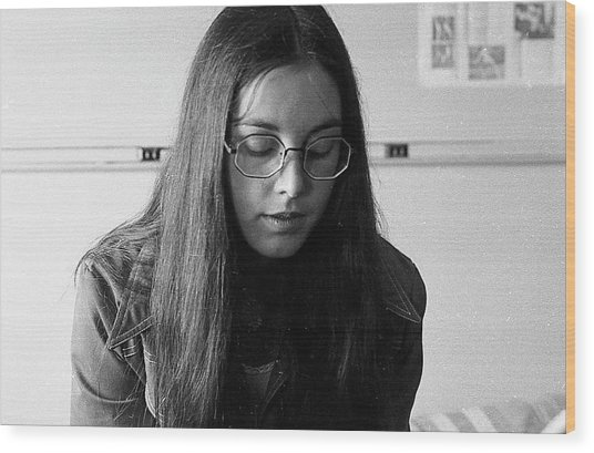 College Student With Octagonal Eyeglasses, 1972 Wood Print