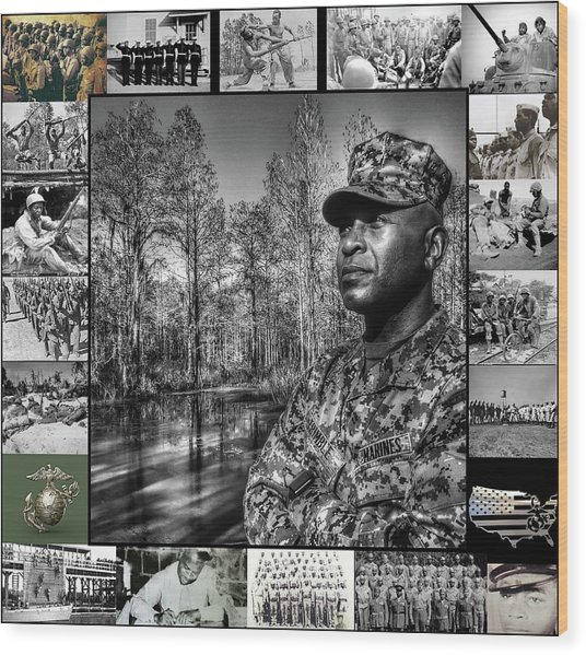 Colonel Trimble Collage Wood Print