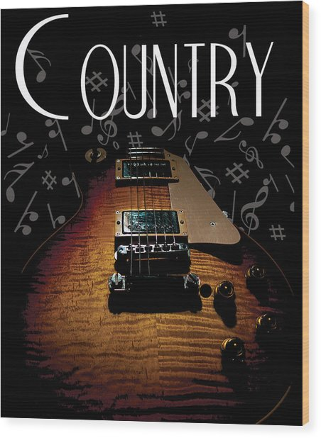 Color Country Music Guitar Notes Wood Print