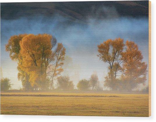 Colorado Autumn Fog Wood Print