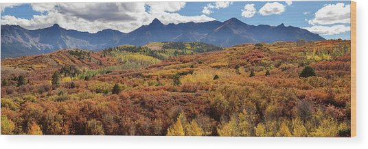 Wood Print featuring the photograph Colorado Autumn Panorama Colorful Bliss by James BO Insogna