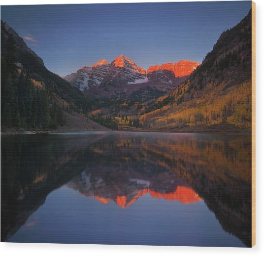 Colorado Sunrise Wood Print by Piriya Photography