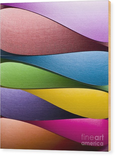 Colored Paper Background Stacked In Wood Print