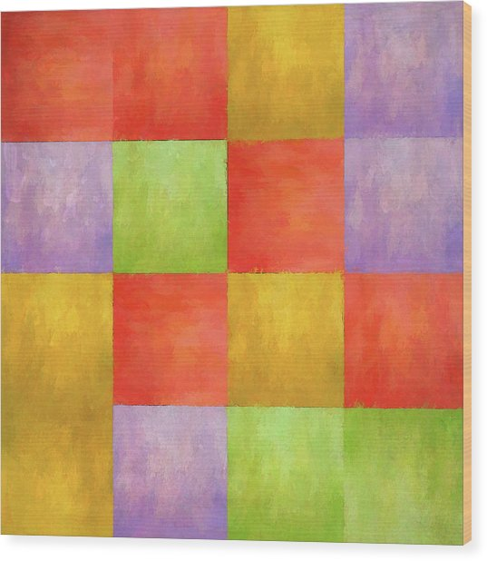 Colored Tiles Wood Print