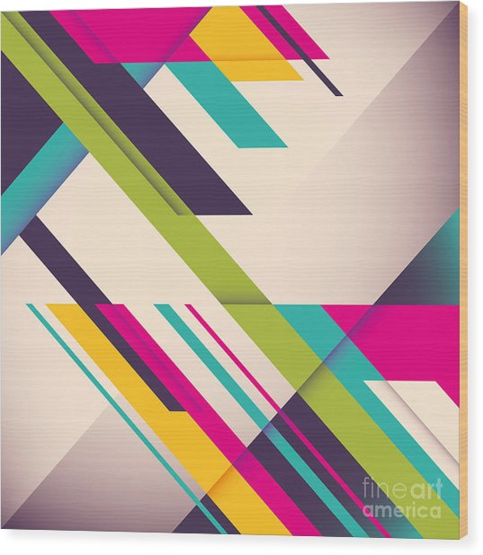 Colorful Background With Designed Wood Print