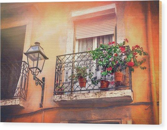 Colorful Balcony Lisbon Portugal  Wood Print